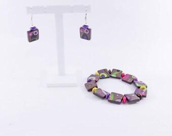 """""""Vitamins"""" parure: bracelet and earrings"""