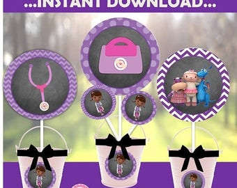 60% OFF SALE Doc McStuffins DOWNLOAD Centerpieces, party decor, Doc Party, Chalkboard, Coordinating Banner, Party Signs, Favor Tags,  avail