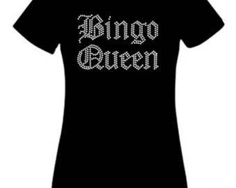 Bingo Queen Ladies Rhinestone Crystal T Shirt