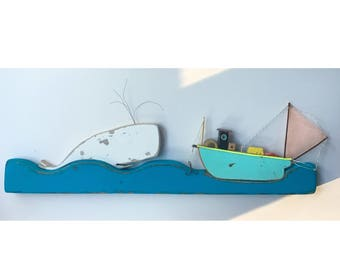 Handcrafted fishing boat and whale  diorama. Made by CBK Miniature Boat Nautical Decor Coastal Decoration Beach Christmas