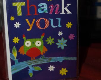 Pack of 5 Clever Owl Thank You Notecards