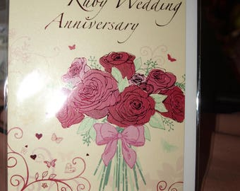 Congratulations on your Ruby Wedding Anniversary Card