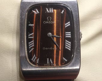 Vintage Rectangular Omega Geneve Unisex Dress Watch. Chocolate Brown Dial. Manual movement, caliber 625. Circa 1974.
