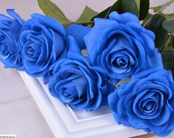 Blue centerpiece etsy for Blue long stem roses