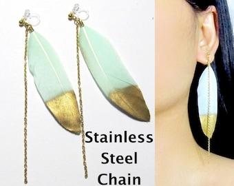 Mint Feather Clip-On Earrings |37B| Boho Clip On Earrings, Long Gold Chain Dangle Clip Earrings, Invisible Clip-ons Non Pierced Earrings