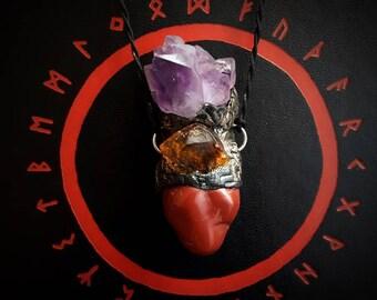 Earthborn Earthen Warder pendant /Crystal Pendant/Crystal Jewelry/Handmade/Unique/Pagan/Heathen/Amulet/Nordic