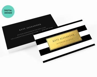 Gold Black and White Striped Business Cards - Digital Download,Printable Business Card,LipSense,mary kay,rodan and fields,vistaprint,plexus