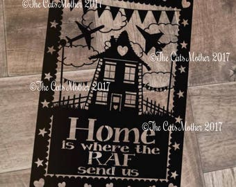 Home Is Where The RAF Send Us - Paper Cutting Template. Personal And Commercial Use PDF