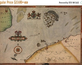 40% OFF SALE Poster, Many Sizes Available; Spanish Armada Map Sir Francis Drake 1590 P3