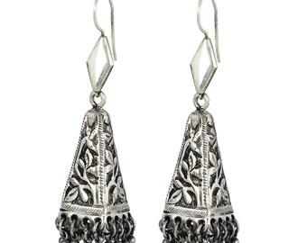Silver Hoop Earring - 925 Sterling Silver Earring - Tribal Ethnic Drop Earring - Oxidized Silver Earring Jewelry