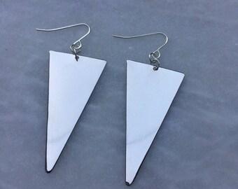 Silver Tribal Bohemian Geometric Arrow Triangle Earrings