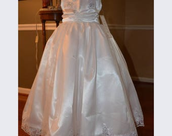 Pageant dress flower girl dress white satin