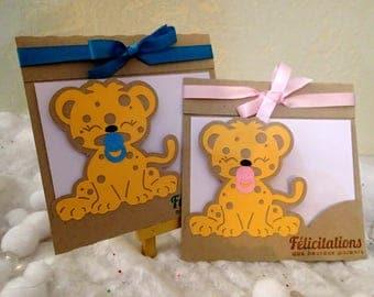 Leopard girl or boy baby congratulations card
