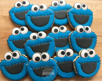 Cookie Monster  Decorated Sugar Cookies- One Dozen