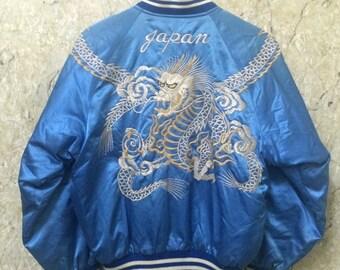 Birthday Sale Vintage Embroidered Japanese Souvenirs Sukajan Varsity Jacket, Dragon Full Satin, Yakuza, Size L Rare