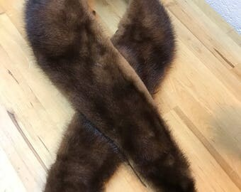 Vintage brown fur collar / midcentury coat fur