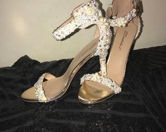 Pearl and Rhinestone Bridal open toe heels