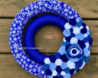 Winter Snowflake Yarn and Fabric Wrapped Double Wreath with Felt Flowers