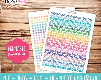 Mini Icons Rainbow and Pastels Printable Planner Stickers.