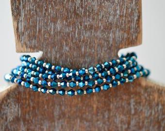 Beaded Bracelet - Stackable Jewelry - Cobalt Blue Necklace - Austrian Crystal