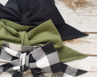 Gorgeous Wrap Trio (3 Gorgeous Wraps)- Noir, Olive & Noir Gingham Gorgeous Wraps; headwraps; fabric head wraps; bows