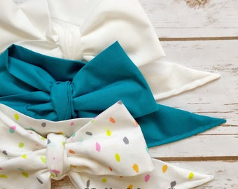 Gorgeous Wrap Trio (3 Gorgeous Wraps)- Blanc, Teal & Sprinkles Gorgeous Wraps; headwraps; fabric head wraps; bows