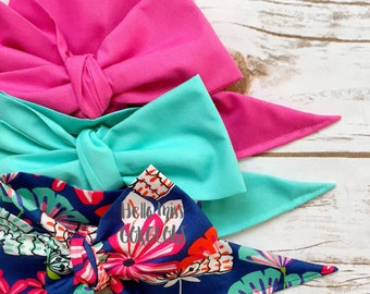 Gorgeous Wrap Trio (3 Gorgeous Wraps)-Pink Taffy, Turquoise & Southern Floral Gorgeous Wraps; headwraps; fabric head wraps