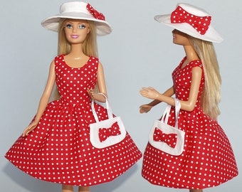Handmade Barbie clothes - Dress, bag and hat