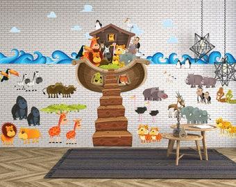 Noah's Ark Wall Decal / Kids Biblical Wall Decals / Christian Wall Decals Churches / Church Wall Decals- WDSET10056B