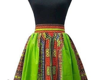 Lemon Dashiki Midi skirt, African clothing Skirt, Ankara skirt