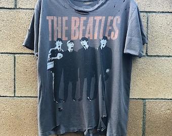 Beatles Shirt - medium- rock - rocker - metal- rock n roll - band shirt - concert shirt - distressed - grunge - reworked Awesome
