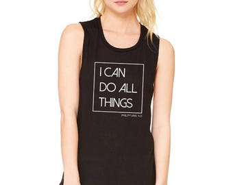 "Ladies ""I Can Do All Things"", Phil 4:13 Black Muscle Tee"