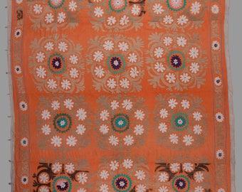 "Vintage UZBEK Samarkand SUZANI Cover Wall Hanging Elegant Pattern 7'6""x9'7""/229x293 cm FREE Shipping Item No. S-502"