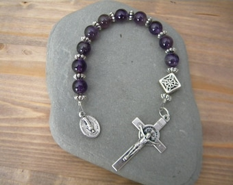 Amethyst and silver rosary
