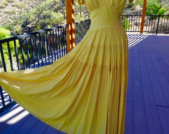 ROMANTIC 1940's VINTAGE Rayon GOWN in Soft Summer Yellow with Coordinating Slip