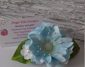 Pale  blue flower hairclip