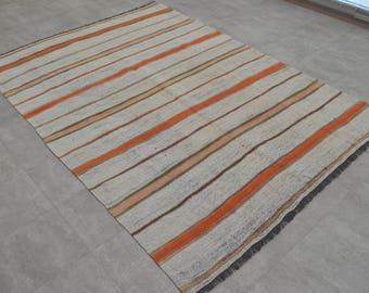 4'11'' x 6'11'' Handmade Cotton Kilim Rug. Hand Woven Turkish primitive Weave AnatoliaN Area Rug. 149x210 cm. Fast Free Shipping sku: BS3616