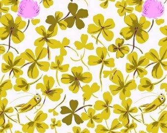 Heather Ross Briar Rose 4 Leaf Clover Out of Print RARE BTHY White Background Green 4 Leaf Clovers  Super Cute!