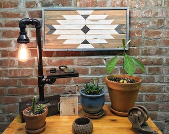 Industrial Table Lamp by SteamLine, outlet table lamp, steampunk lamp, reclaimed wood light