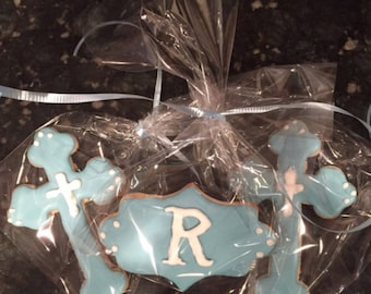 Monogrammed baptism cookies, welcome baby cookies, christening cookies, cross baby cookies, new bon baby cookies, celebration or gift cookie