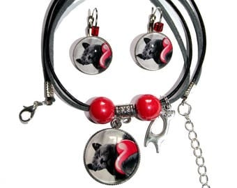 Exclusive necklace and earrings Chartreux cat Duo