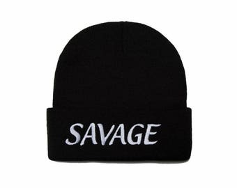 Savage Beanie, Savage Hat, Savage, Savage AF, Embroidered Beanie, Beanies with Words