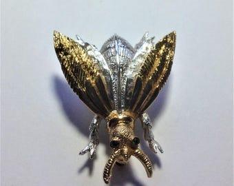 Vintage Bee Brooch, Monet Brooch, Emerald Green Eyes, Vintage Gift