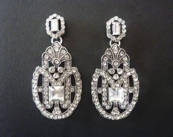 Art Deco Earrings Great Gatsby Earrings Vintage Earrings Art Nouveau Earrings Wedding Bridal Downton Abbey Downtown Abbey Crystal Earings