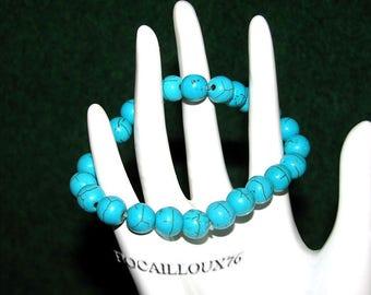 BRACELET HOWLITE Turquoise 4 Perles 8mm Sur CORDELASTIC