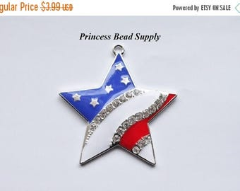 SALE Red, White and Blue Star Rhinestone Pendant for Chunky Necklaces,  45mm Patriotic 4th of July Pendant,  Chunky Necklace Pendant,