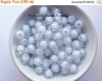 SALE 12mm White Clear Disco Chunky Beads Set of 20 or 50, Clear Bead in Bead Bubble Gum Beads, Gumball Beads, Acrylic Beads