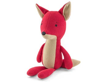 "Stuffed Fox animal . Plush fox. Red fox. Soft toy fox named ""Ville"". Softy small red fox. Soft friend for hugging. Kids room decorative fox."