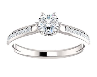 3/4 ctw Carat Total Weight Diamond Engagement Ring - 6 Prong - 14K White Gold - Channel Set Diamonds -  G/SI Round Diamond - ON SALE