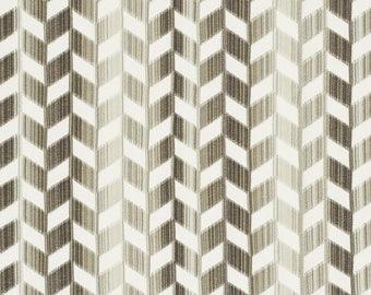 SCHUMACHER CHEVRON VERTICAL Strie Cut Velvet Fabric 10 Yards Stone